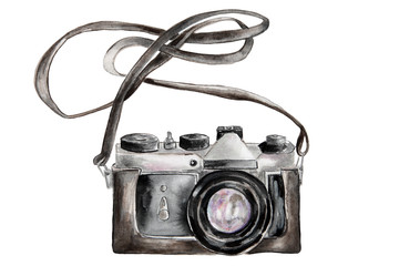 Hand drawn watercolor photo camera isolated on white background.