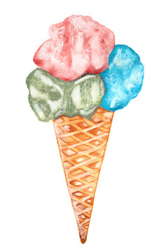 Hand drawn watercolor ice cream isolated on white background.