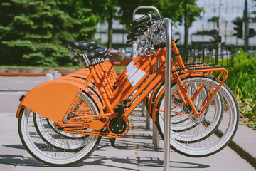 Row of city bikes for rent at docking stations in Kaunas, Lithuania