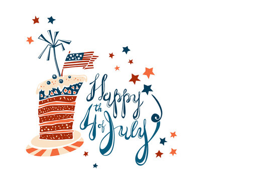 Fourth of July Cartoon Lettering with striped cake