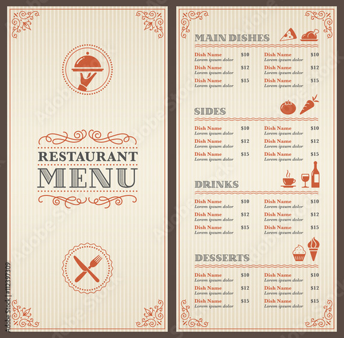 Restaurant Menu Design Vector Collection : Quot classic restaurant menu template stock image and royalty