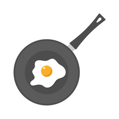 Fried egg in a frying pan isolated on white background. Fried egg flat icon. Fried egg icon. Fried egg closeup. Fried egg vector. Fried egg in cartoon style. Colorful fried egg. Unusual fried egg art