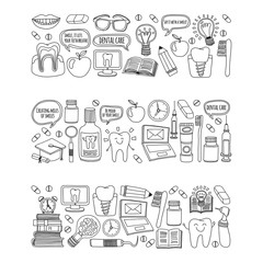 Dentistry Vector doodle set of icons Children dental care