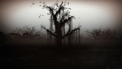 Horror  Halloween  gravestone   spooky tree Wall mural