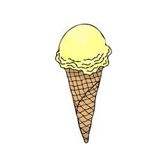 Ice cream cone. Ice cream sundae on background. Ice cream flat. Image of vanilla ice cream. Ice cream isolated.