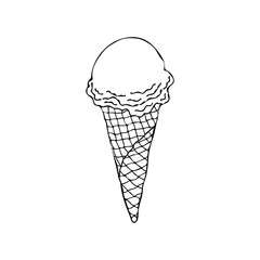 Ice cream cone. Ice cream sundae on background. Ice cream flat. Image of vanilla ice cream.