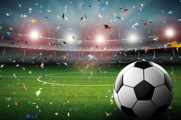 ball with soccer stadium and confetti background