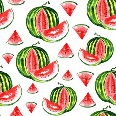 Watercolor watermelon pattern isolated on white background