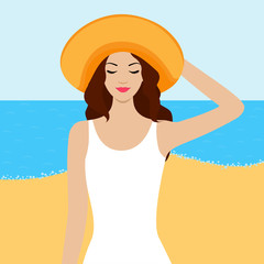 Illustration of girl with closed eyes on the beach