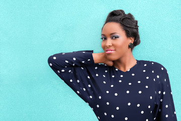 African American Woman in Hair Updo Braids and Make Up