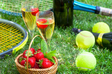 Strawberries and champagne during Wimbledon tournament