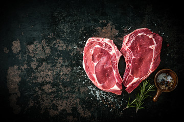 Door stickers Meat Heart shape raw fresh veal meat steaks