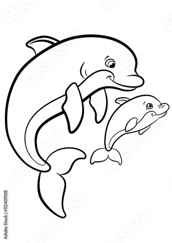 Coloring pages. Marine wild animals. Mother dolphin swims with her ...