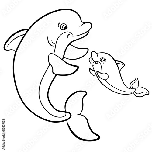 Coloring Pages Marine Wild Animals Mother Dolphin Swims With Her Little Cute Baby