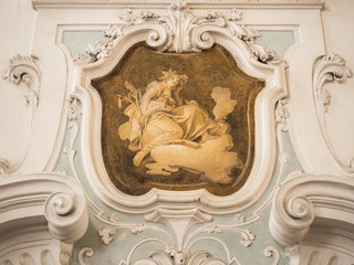 The ornament of fireplace hood in classical villa.