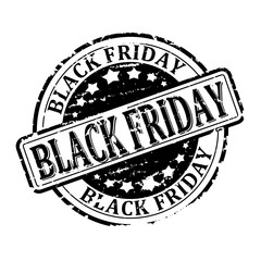 Damaged black round stamp with the inscription - Black Friday - vector svg