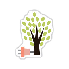 paper sticker on white background eco energy