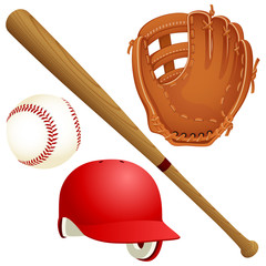 Vector illustration of a variety of baseball equipment: a bat, a ball, a glove and a helmet.