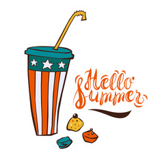 Summer ice-drink in cartoon style