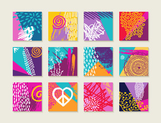 Summer set of colorful cards with happy designs
