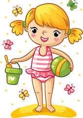 A cute little girl playing in the sand. Girl standing in a swimsuit with a bucket, shovel, and the ball, and around fly the multicolored butterflies. Vector illustration of a summer theme.
