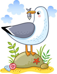Cute cartoon vector seagull on a rock holding a fish in its beak. Summer fun illustration of a bird on a sandy island.