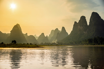 Photo sur cadre textile Guilin Lijiang und Karstberge in Guilin, China