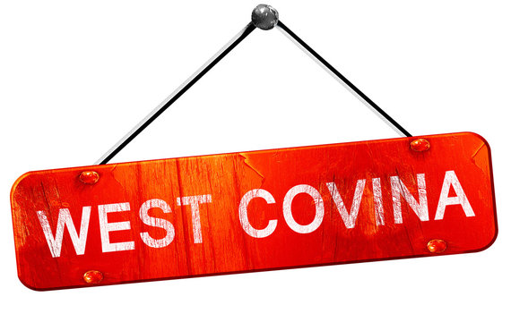 west covina, 3D rendering, a red hanging sign