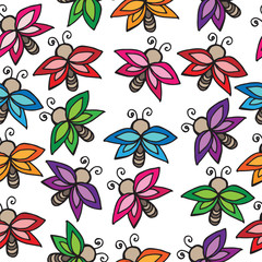 Seamless with multicolor butterflies isolated on white