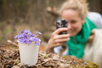Young woman making picture of beautiful snowdrops in paper cup. Girl making photo of first spring flowers in a forest. Beginning of spring in a forest. Focus on snowdrops.