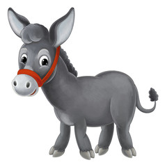 Cartoon donkey standing and watching - cute animal - isolated - illustration for children