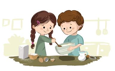 Niños cocinando en la cocina. Están preparando un postre entre los dos. Dibujo trabajando en equipo