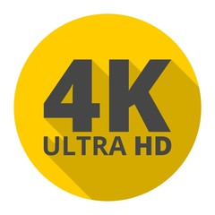 Ultra HD 4K icon with long shadow