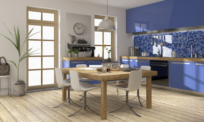 Küche Küchenwinkel blau modern Küchenplanung Holz Edelstahl