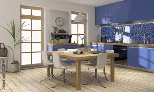 k che k chenwinkel blau modern k chenplanung holz edelstahl stockfotos und lizenzfreie bilder. Black Bedroom Furniture Sets. Home Design Ideas