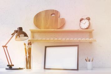 Desktop with various items toning