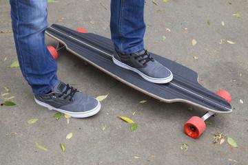young skateboarder legs skateboarding