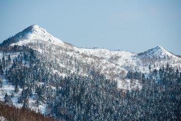 Winter mountain landscape Sakhalin island.