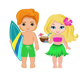 Illustration of cute boy with surfboard and Hawaiian girl with cocktail.