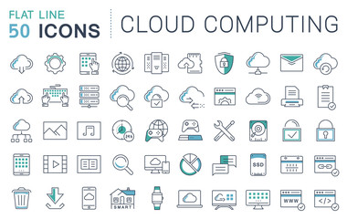Set Vector Flat Line Icons Cloud Service