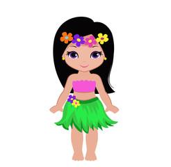 Cute cartoon girl in traditional Hawaiian dancer costume.