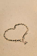 Love Heart drawn on sandy atlantic coast