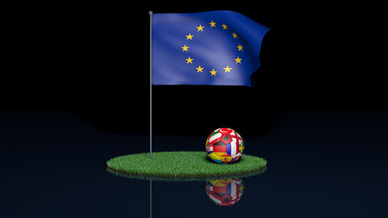 waving european flag with football of participating teams