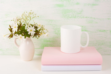 Mug mockup with fresh flowers