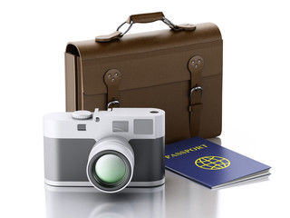 3d Old brown suitcase, camera and passport.