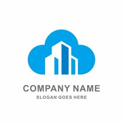 Building Cloud Architecture Real Estate Tower Vector Logo Template