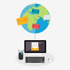 Wide communication or email communication. Broadcast messaging. Flat design.