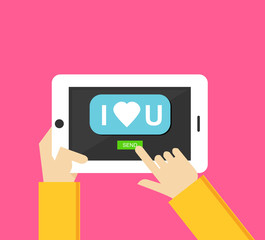 I love you message on the screen of mobile phone in human hands. Love message. Valentine's Day vector illustration