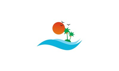 logo with a silhouette of the city and a palm. Company logo design