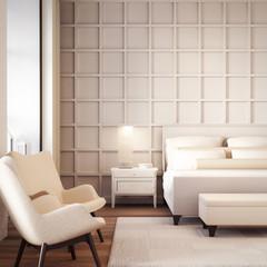 Simple and Luxury Bedroom hotel / 3D rendering interior